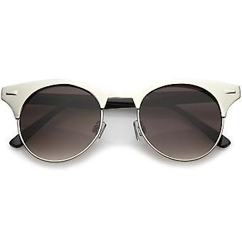 Women's Matte Finish Horn Rimmed Round Flat Lens Cat Eye Sunglasses 49mm