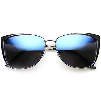 Modern Thin Metal Frame Color Flash Mirrored Lens Cat Eye Sunglasses