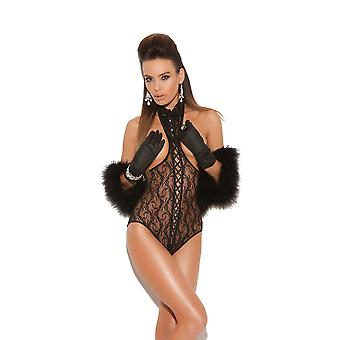 Vivace EM-8743 Lace cupless teddy with lace up front and open back