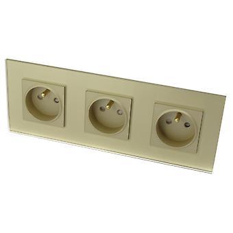 I LumoS Luxury Gold Glass 16A French Wall Plug Triple Socket