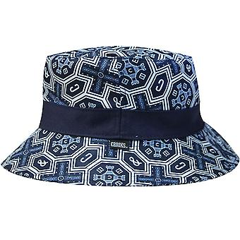Crooks & Castles Venetian Reversible Woven Bucket Hat True Navy