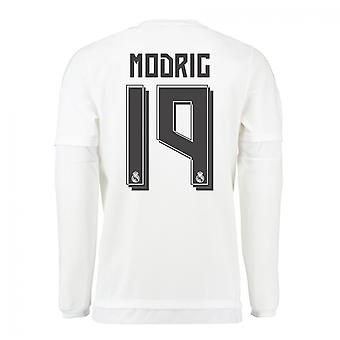 2015-16 Real Madrid Long Sleeve Home Shirt (Modric 19) - Kids
