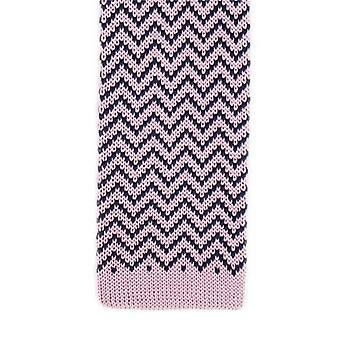 Michelsons of London Zig Zag Silk Knitted Skinny Tie - Pink/Navy