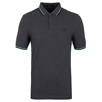 Fred Perry Graphite Marl contrastant Twin Tipped Pique Polo Shirt