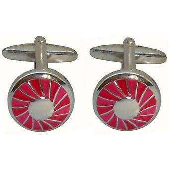 Bassin and Brown Spiral Concentric Cufflinks - Red/Silver