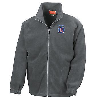 Amerikanska armén 10th Mountain Division broderad Logo - Full Zip Fleece