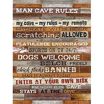 Man Cave Rules Poster Print by Marla Rae (12 x 16)