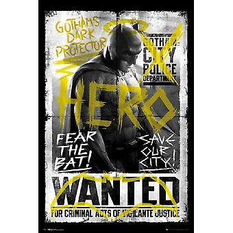 Batman vs Superman - Hero Wanted Poster Poster Print