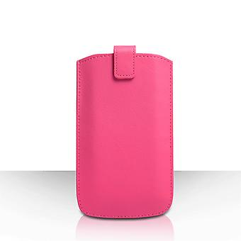 Caseflex Large Textured Leather-Effect Return Phone Pouch - Pink