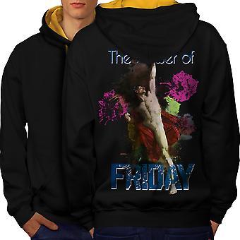 Friday Classic Art Funny Men Black (Gold Hood)Contrast Hoodie Back | Wellcoda