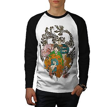Fantasy japanske Skull menn hvit (svart ermene) Baseball LS t-skjorte   Wellcoda
