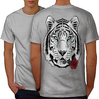Romantic Tiger Animal Men GreyT-shirt Back | Wellcoda