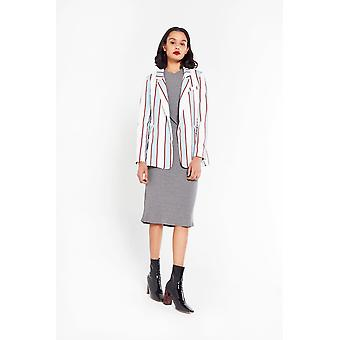 English Factory Striped Linen Blazer