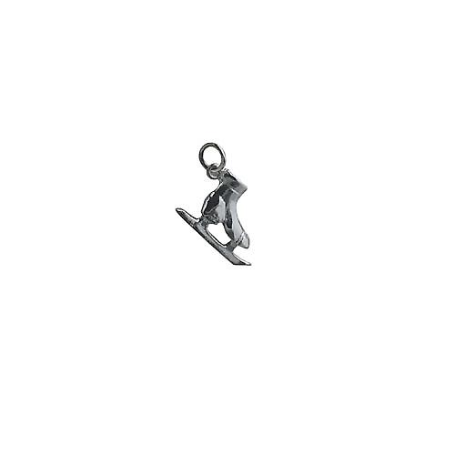 Silver 13x20mm Ice skating boot pendant or charm