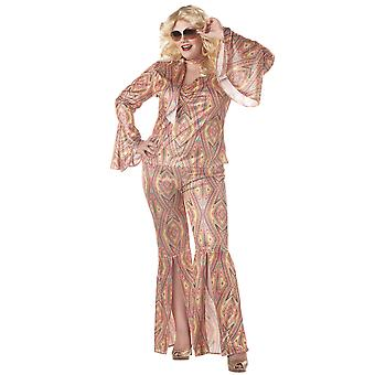 Discolicious 1960s 1970s Disco Hippie Hippy Dancing Fox Womens Costume Plus
