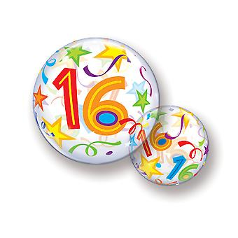 Balloon bubble ball birthday number 16 star streamer approximately 55 cm balloon