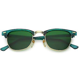 Ægte Vintage Horn kantede Semi uindfattede solbriller farve tonet firkantede linse 49mm