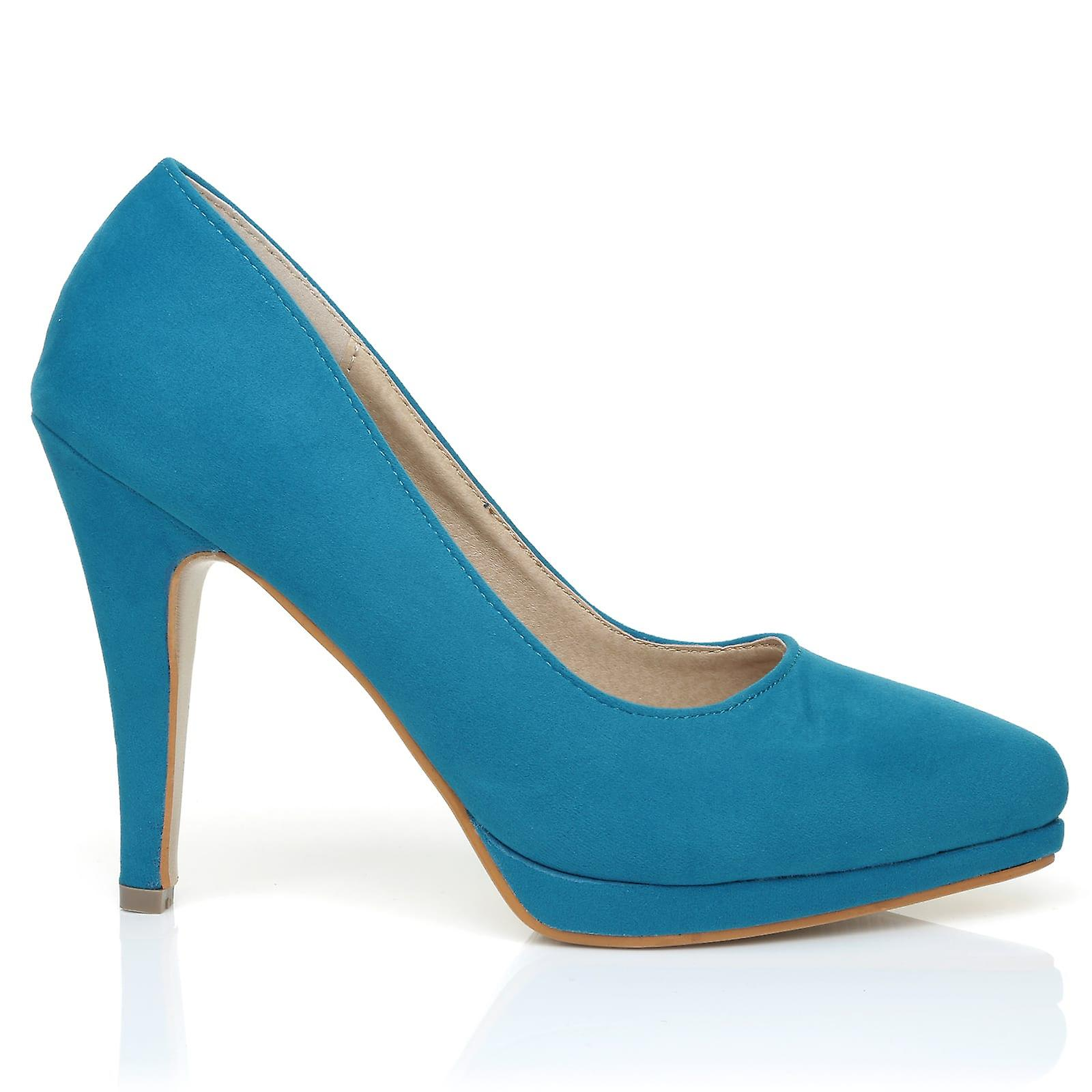 EMMA Turquoise Faux Suede Stiletto High Heel Platform Pointed Shoes