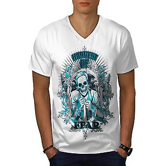 Ernten Sie Angst Blume Männer WhiteV-Neck T-shirt   Wellcoda