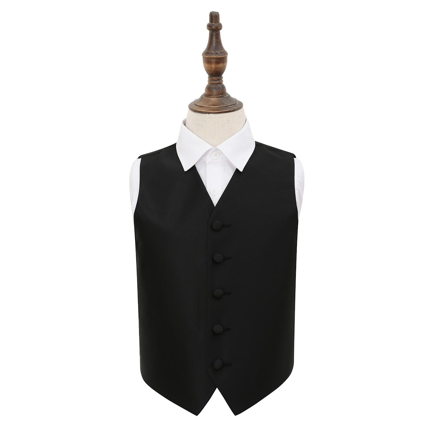 Black Solid Check Wedding Waistcoat for Boys