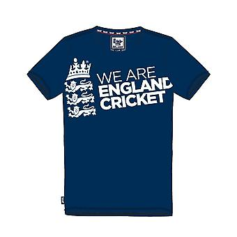 ECB England Cricket Kids Large Logo Tee - Navy