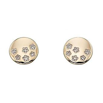 Elements Gold Diamond Star Disc Stud Earrings - Gold/Clear