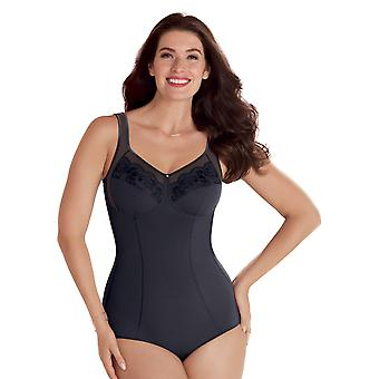 Anita Comfort 3514-408 Women's Amica Anthracite Grey Floral Embroidered Non-Wired Firm Control Slimming Shaping Corselette