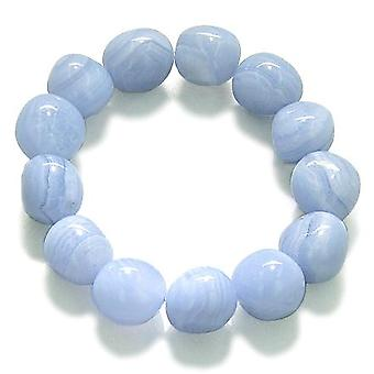 Amulet Tumbled Blue Lace Agate Crystals Good Luck Powers Lucky Charm Gemstone Bracelet