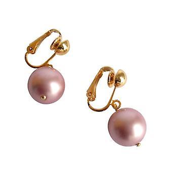 Gemshine - Panie - clip - kolczyki perły - Tahitian - Róża - złoto platerowany 12 mm