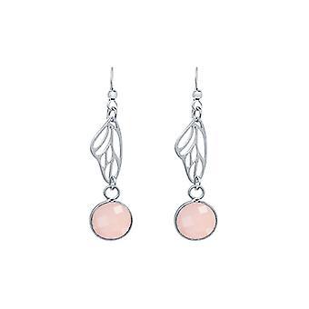 Gemshine - damas - Pendientes - plata 925 - alas de la mariposa - cuarzo rosa - pink - 4 cm