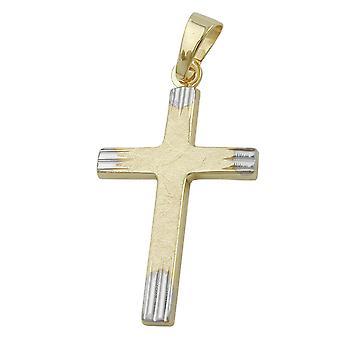 Communion cross gold cross pendant bicolor 375 pendant, cross, 9 KT GOLD