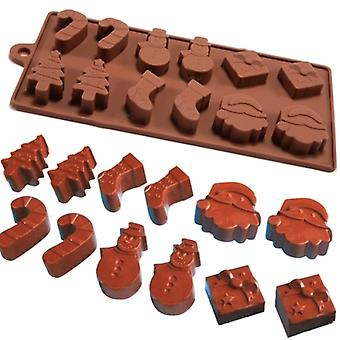6 Shapes 12 Pc Silicone Fondant Baking Mold Mould for Christmas Cake Jelly Ice Chocolate