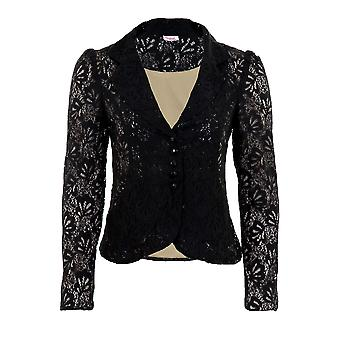 Ladies 3/4 Sleeve Lace Lined Frill Puff Shoulder Zip Women's Smart Shrug Blazer