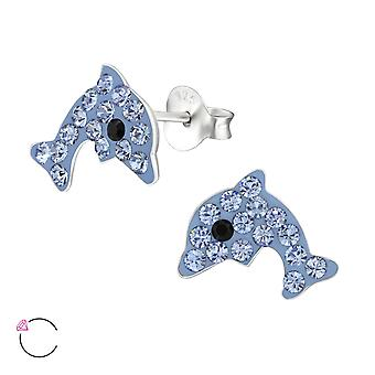 Dolphin - 925 Sterling Silver Crystal Ear Studs - W32787x