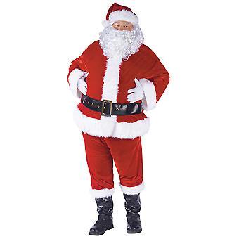Velours Santa Claus costume Deluxe Noël Costume Mens barbe complète Set STD