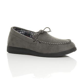 Ajvani mens flat low heel winter memory foam luxury gift anti-skid moccasin slippers