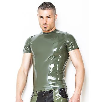 Honour Men's T-Shirt Black Rubber Top Shortsleeved Sexy Tight round neck