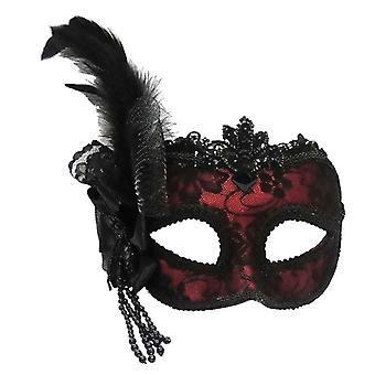 Rot/Seite Feder Maske am Stirnband.