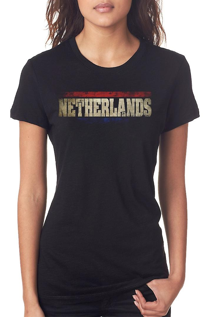 Netherlands Dutch Flag - Words Ladies T Shirt