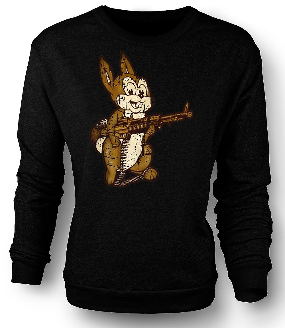 Mens Sweatshirt Rabbit With M60 Machine Gun - Cool Design