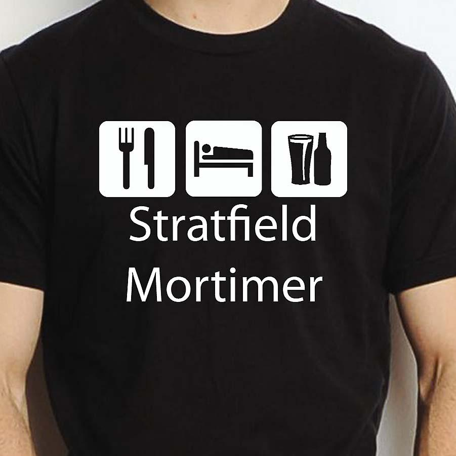 Eat Sleep Drink Stratfieldmortimer Black Hand Printed T shirt Stratfieldmortimer Town