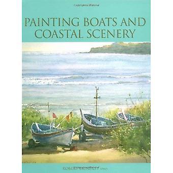 Botes de pintura y paisaje costero