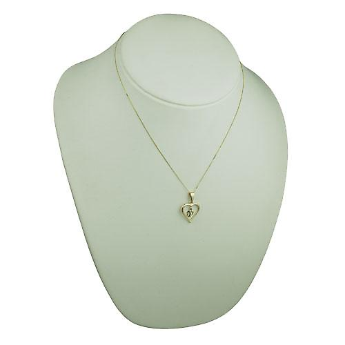 9ct Gold 18x18mm heart Pendant with hanging Initials DP Pendant and bail on a curb Chain 18 inches