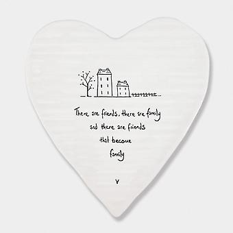East of India Porcelain Heart Coaster 'There are friends, there are family' Gift