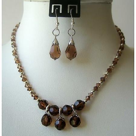 Smoked Topaz Crystals TearDrop Necklace Set Wedding Jewelry