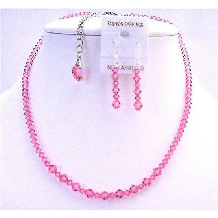 Back Drop Down Crystals Heart Necklace Set Rose Pink Back Drop Heart