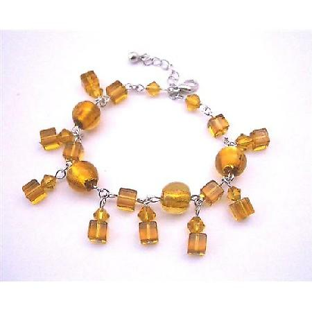 Pumpkin Crystal Sexy Simulated Topaz Crystal Dangling Bracelet