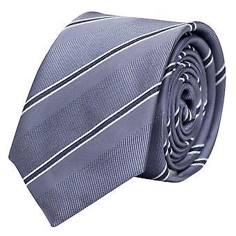 Schlips Krawatte Krawatten Binder 8cm graublau weiß gestreift Fabio Farini