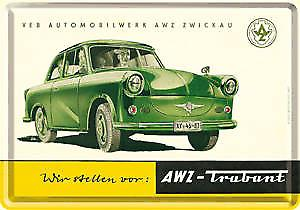 Trabant (green) miniature metal sign / metal postcard   (na)