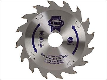 Faithfull Circular Saw Blade 160 x 30mm x 16T Fast Rip